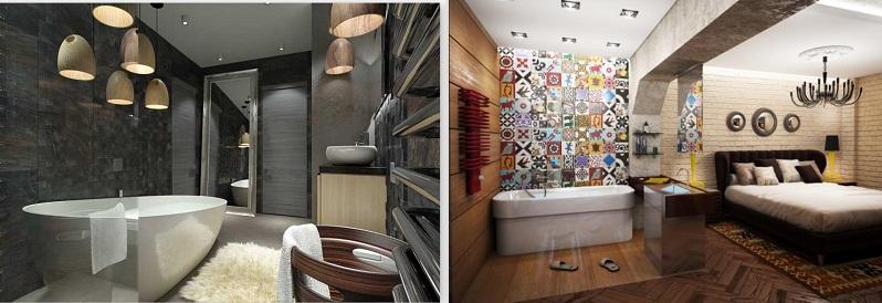 дизайн в стиле лофт для ванной