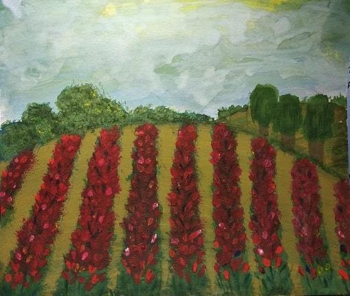 учусь рисовать поле с тюльпанами